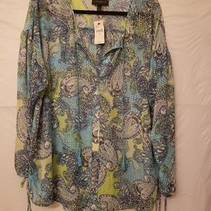 Lane Bryant Tassel Split Neck Blouse